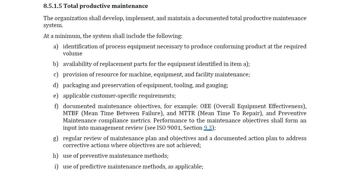 หลักสูตร TPM For IATF 16949 : Total Productive Maintenance การบำรุงรักษาทวีผลแบบทุกคนมีส่วนร่วม
